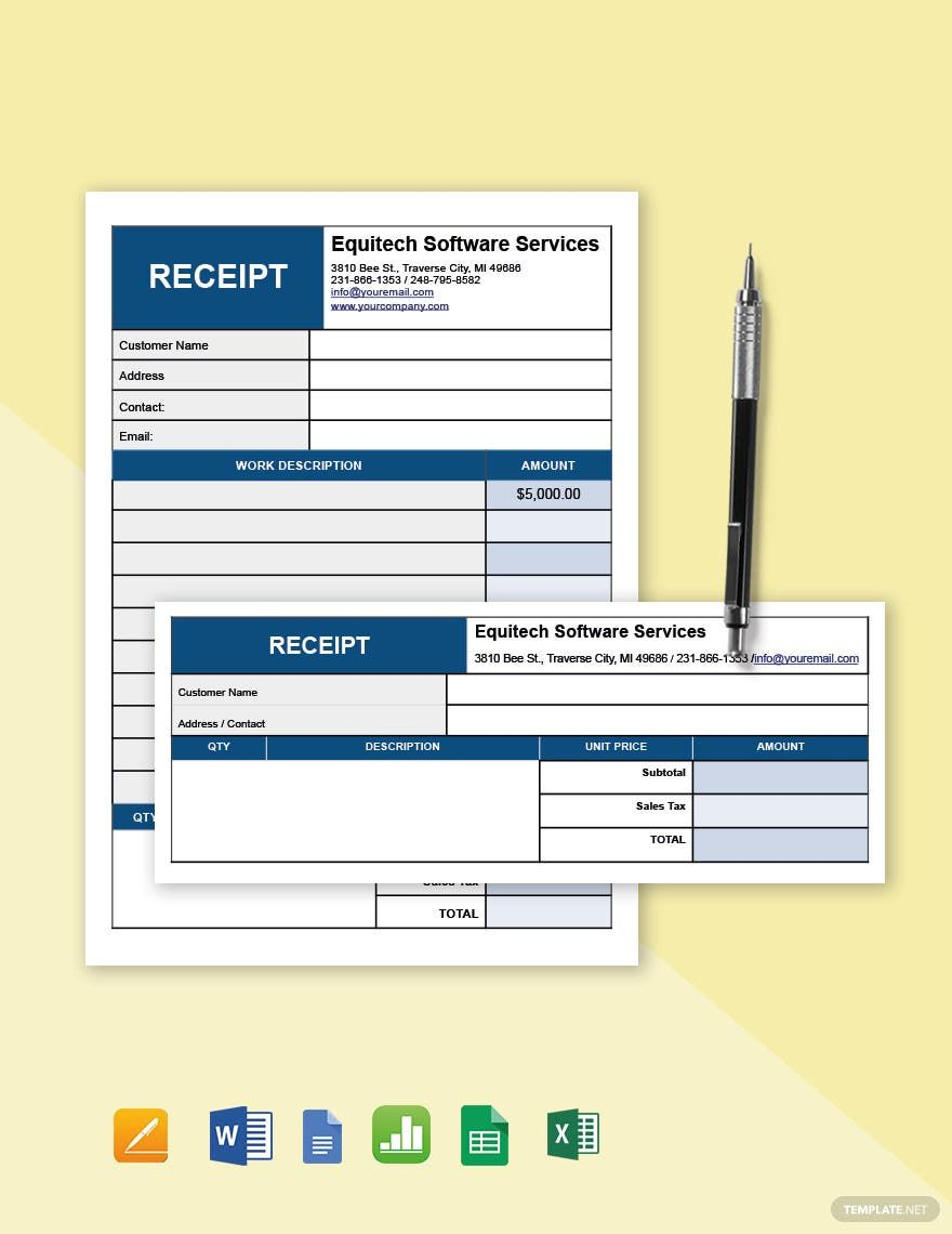 Simple Software Service Receipt Template Free Pdf Google Docs Google Sheets Excel Word Template Net Receipt Template Templates Gantt Chart Templates