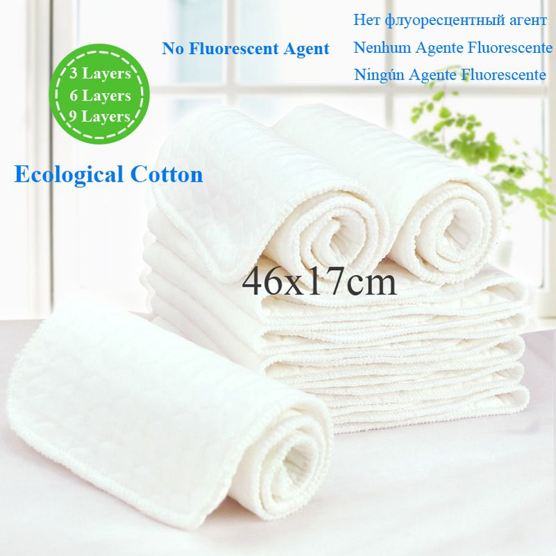 1 Layers Cloth Cotton Baby Inserts Nappy Liners Diapers Reusable Washable White