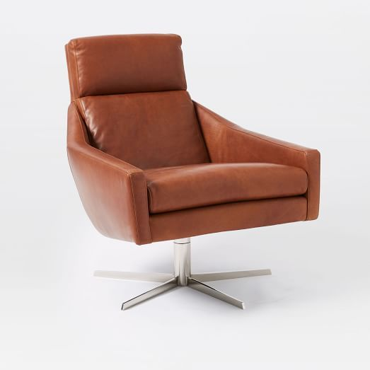 Austin Swivel Base Chairpoly Materialleathercharcoalpolished