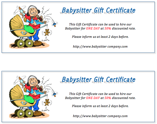 Babysitter Gift Certificate Design Corporate Gifts Gift