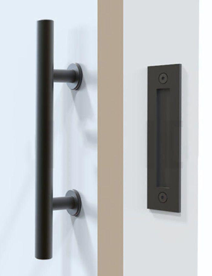 Barn Door Handle 12  u0026 Flush Mount Black | Rustic modern Barn doors and Black metal & Barn Door Handle 12