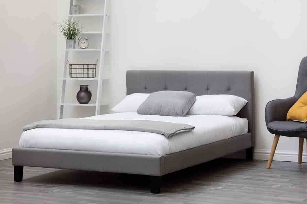 Blenheim Grey Fabric Low Headboard Bed Frame Single Double
