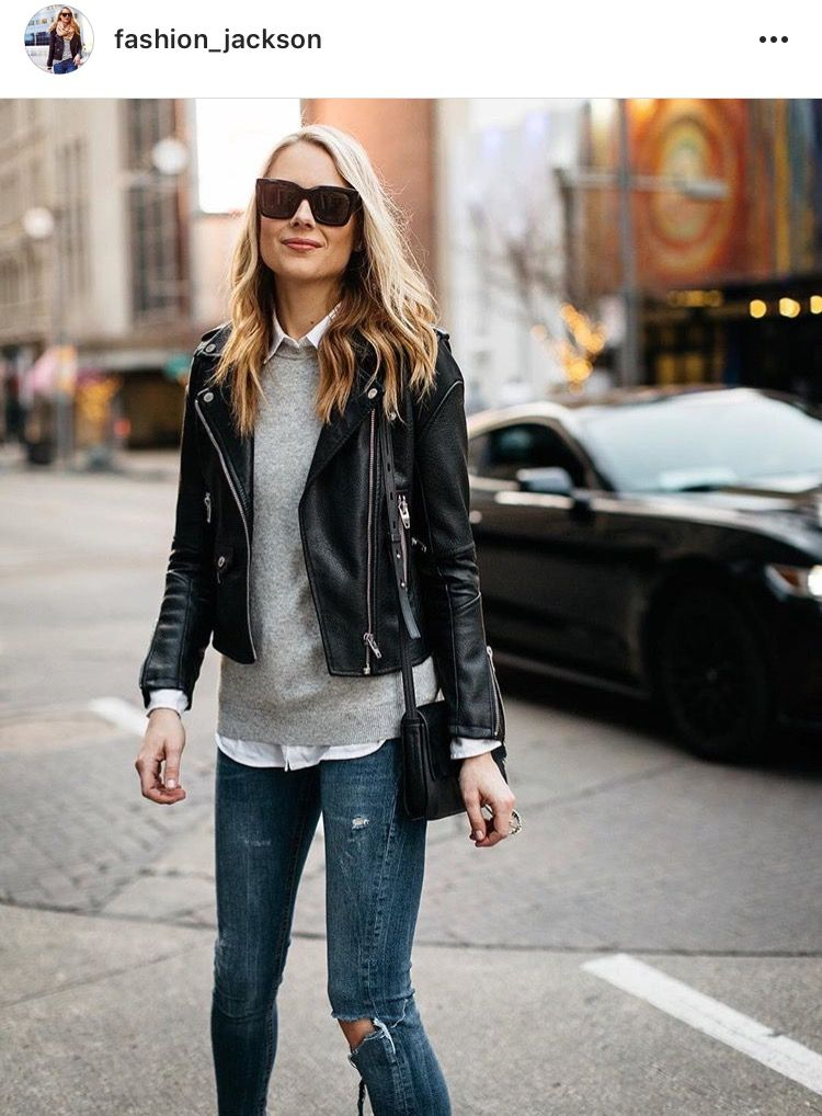 Pin by Mirta Baez on Fashion Black leather jacket outfit