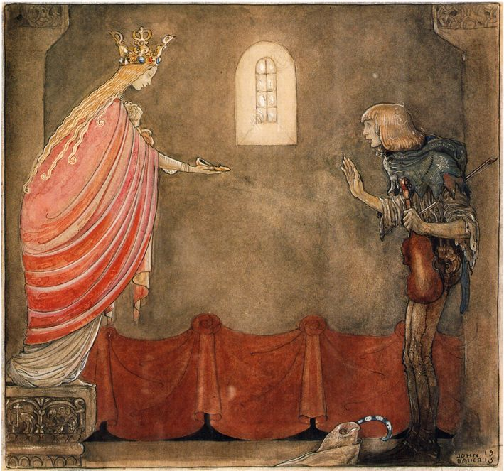 """""""Spelmannen"""", from """"Bland Tomtar Och Troll 9"""" (1915, by Åhlén & Åkerlunds Förlag, showcases Bauer's final suite of colour and monotone illustrations for this Swedish Christmas annual), illustrated by John Bauer"""