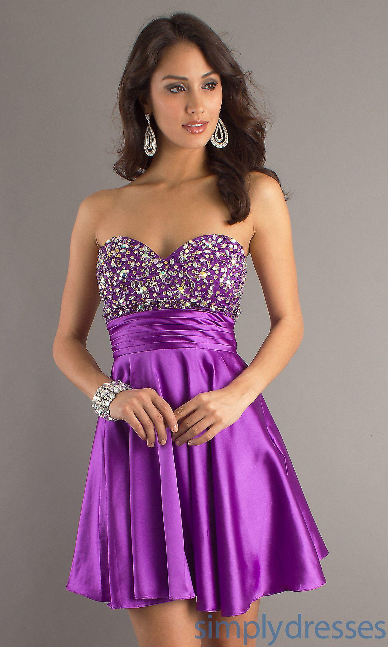 Short strapless purple party dress dj prom dresses