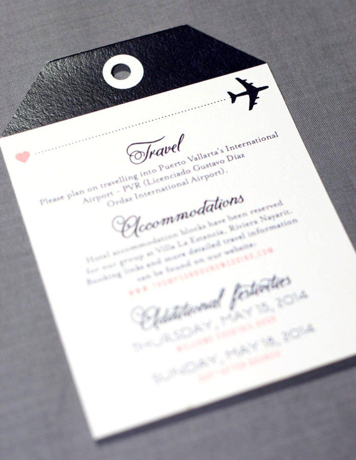 Boarding Pass Wedding Invitation Destination Wedding Invitations