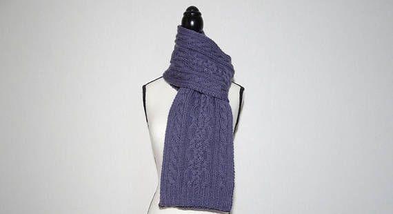 Echarpe femme tricotée main écharpe violette écharpe en   Purple ... 7baee182ee6