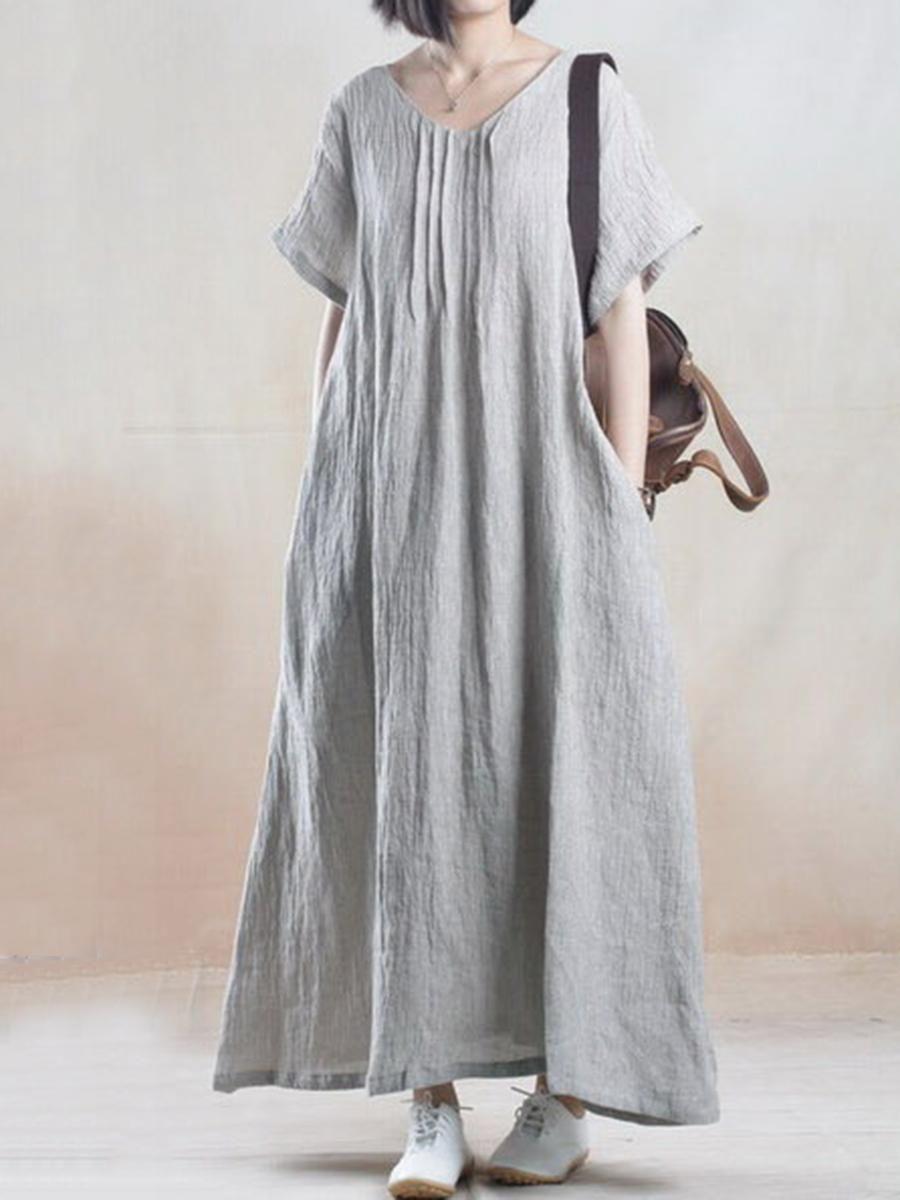 b1559fa64 #EnvyWe #BerryLook - #berrylook V-Neck Plain Linen Maxi Dress - EnvyWe.com
