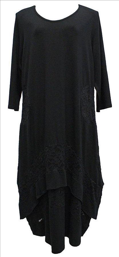 03cd57eb1512a4 AKH Fashion Lagenlook langes Kleid, Ballonkleid mit Spitze große Größen in  schwarz bei www.modeolymp.de