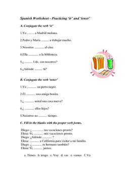 this spanish worksheet has students fill in the present tense forms of ir and tener there are. Black Bedroom Furniture Sets. Home Design Ideas
