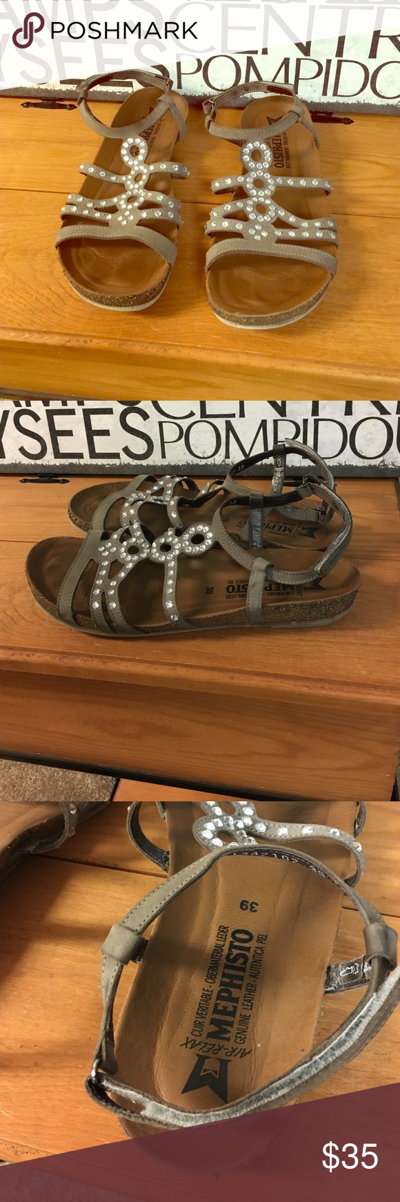 Mephisto Strappy sandals with embellishments Classy looking sandals with sparkle.  Genuine leather. Ankle straps have Velcro closures. Cushioned inner soles. Fits 8-8.5. Mephisto Shoes Sandals