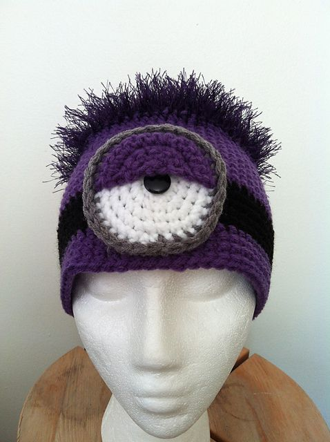 Purple Minion Hat by Gabicita pattern by Gabicita Creations