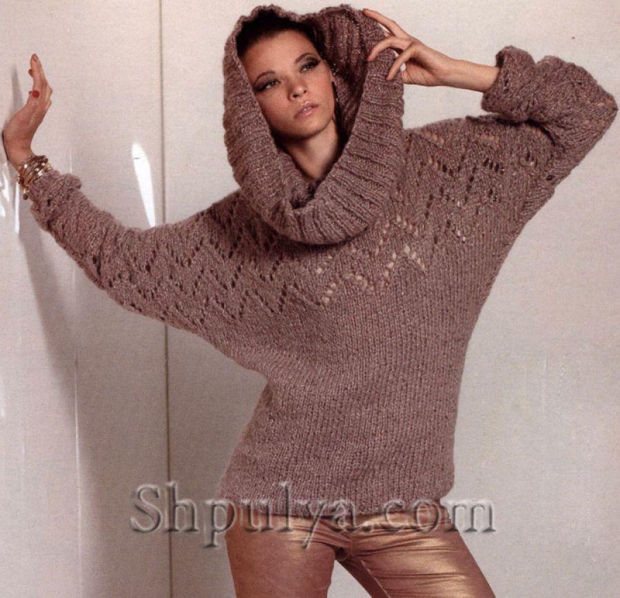 пуловер с рукавами летучая мышь и снуд труба спицами вязание