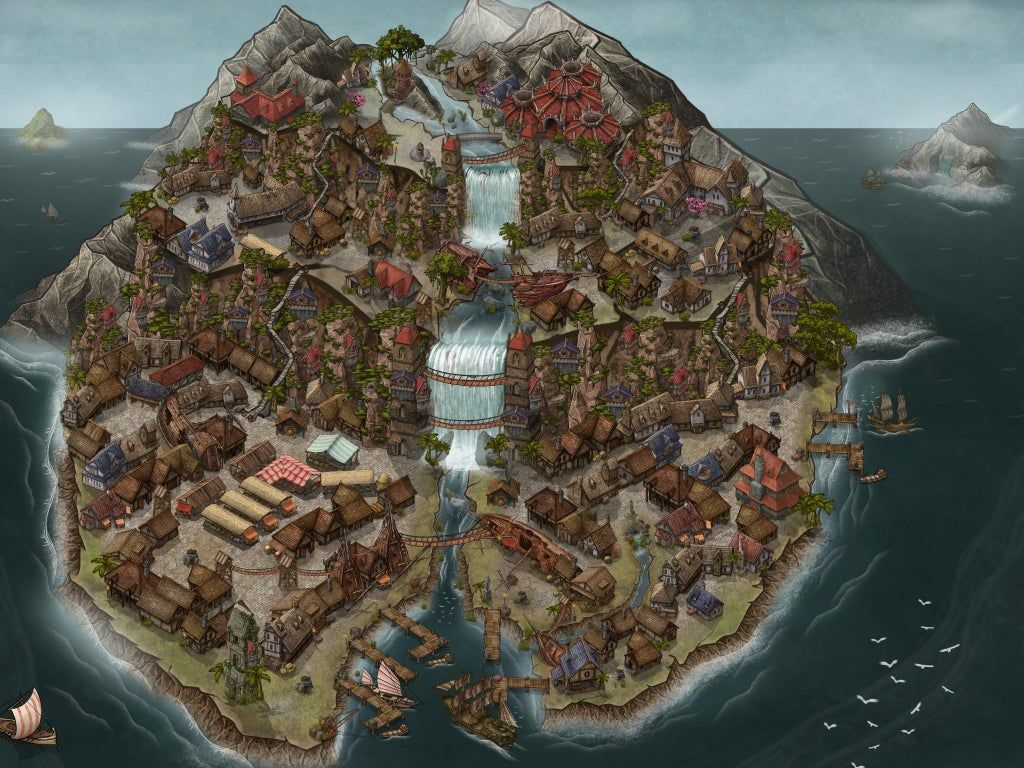 The Full Pirate Island To Go Along With The Pirate Port I Posted Earlier Inkarnate Pirate Island Fantasy World Island