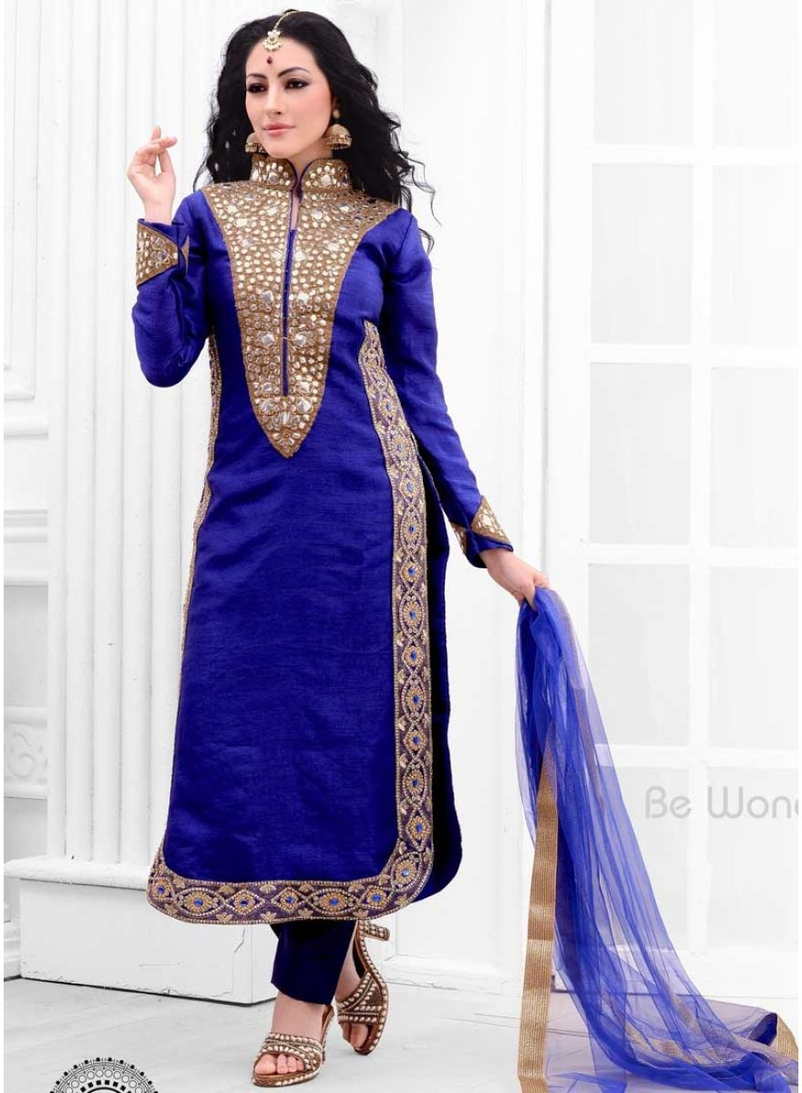 Blooming Royal Blue Raw Silk Embroidery Mirror Work Churidar Suit ...