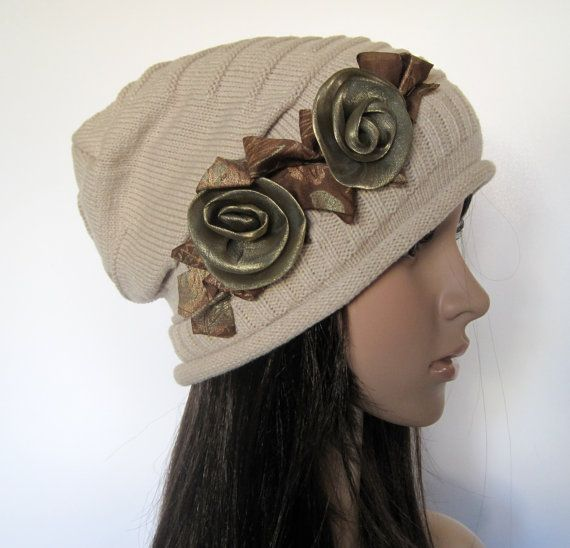 Tan Beige Knit Slouch Beanie Winter Hat with Adorable Ribbon Roses Accent, $25.00