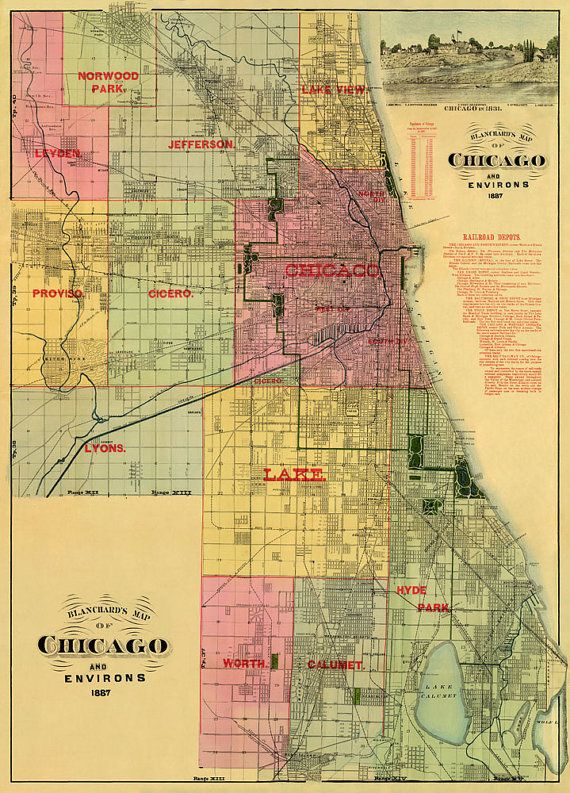 Chicago Map Old Map Of Chicago Print Archival Print Historic - Old map reproductions