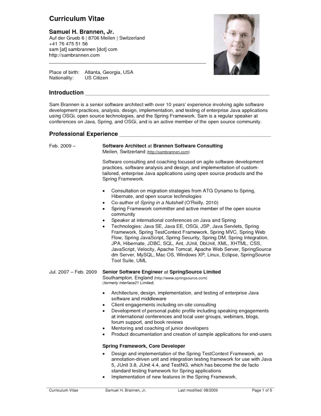 U S Resume Format Professional Cv resume sample