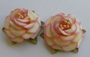 Handmade Paper Flowers Roses Shabby Pink by...