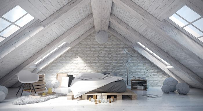 1001 ideen f r einrichtung von einer mansarde dachstock bett aus paletten und. Black Bedroom Furniture Sets. Home Design Ideas