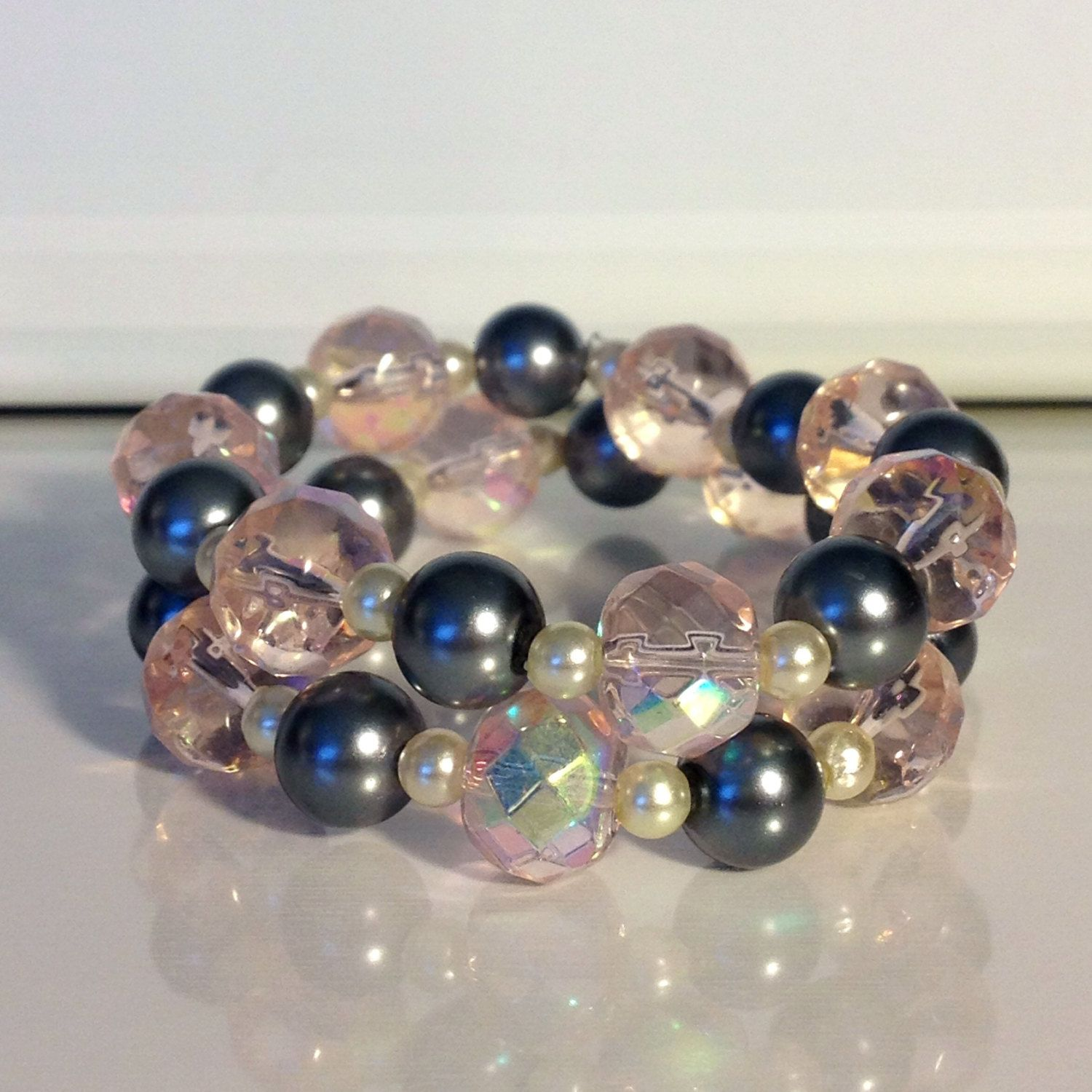 Silver and pink elastic bracelets via etsy jewelry