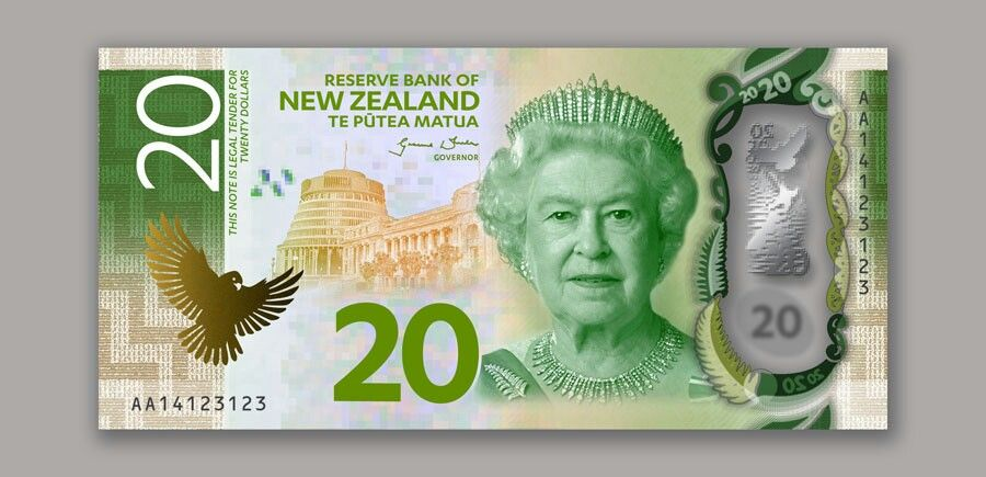 Artistic rendition of New Zealand's new $20 banknote. The Reserve Bank is completing detailed work on the public and machine-readable security features, which will help people to authenticate the new notes. For this reason, the actual banknotes will look slightly different to the ones shown here