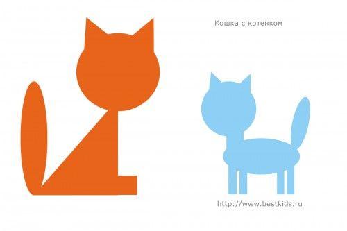 Кошка с котенком, аппликация из геометрических фигур ...
