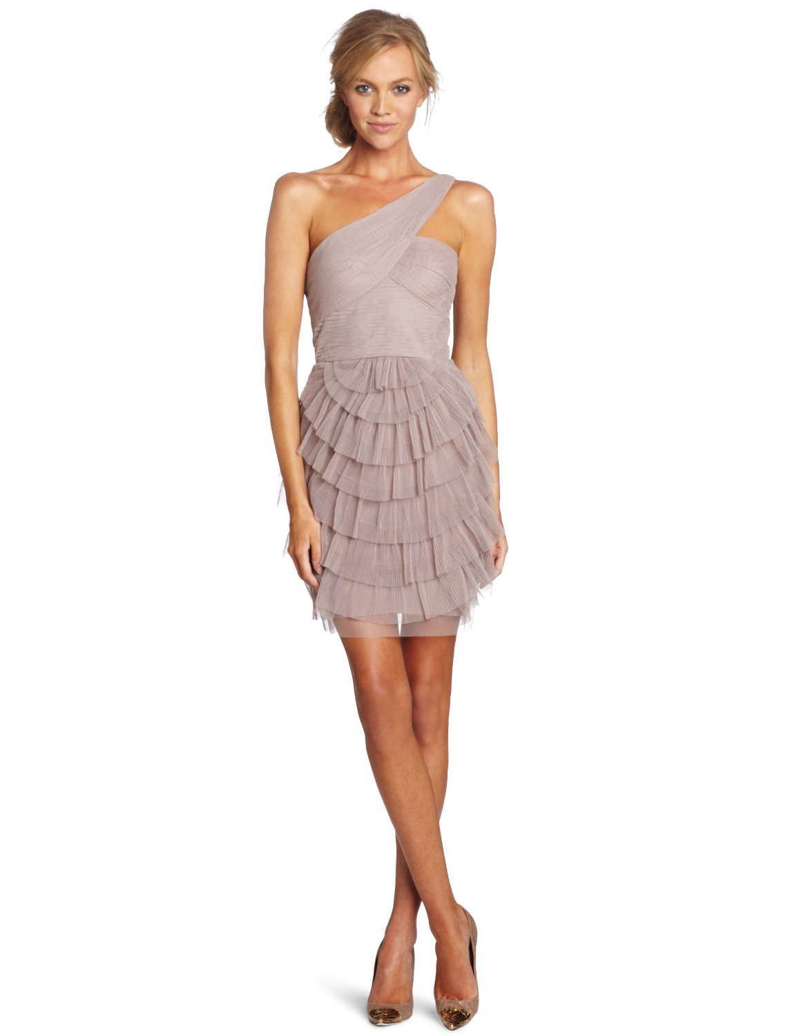 BCBGMAXAZRIA Women's Petite Ella Pleated One Shoulder Cocktail ...