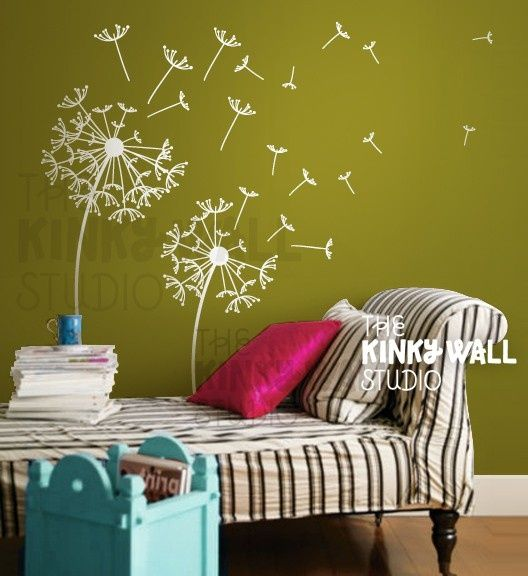 dandelion wall decal kunst wandgestalltung wandbemalung und wandgestaltung. Black Bedroom Furniture Sets. Home Design Ideas