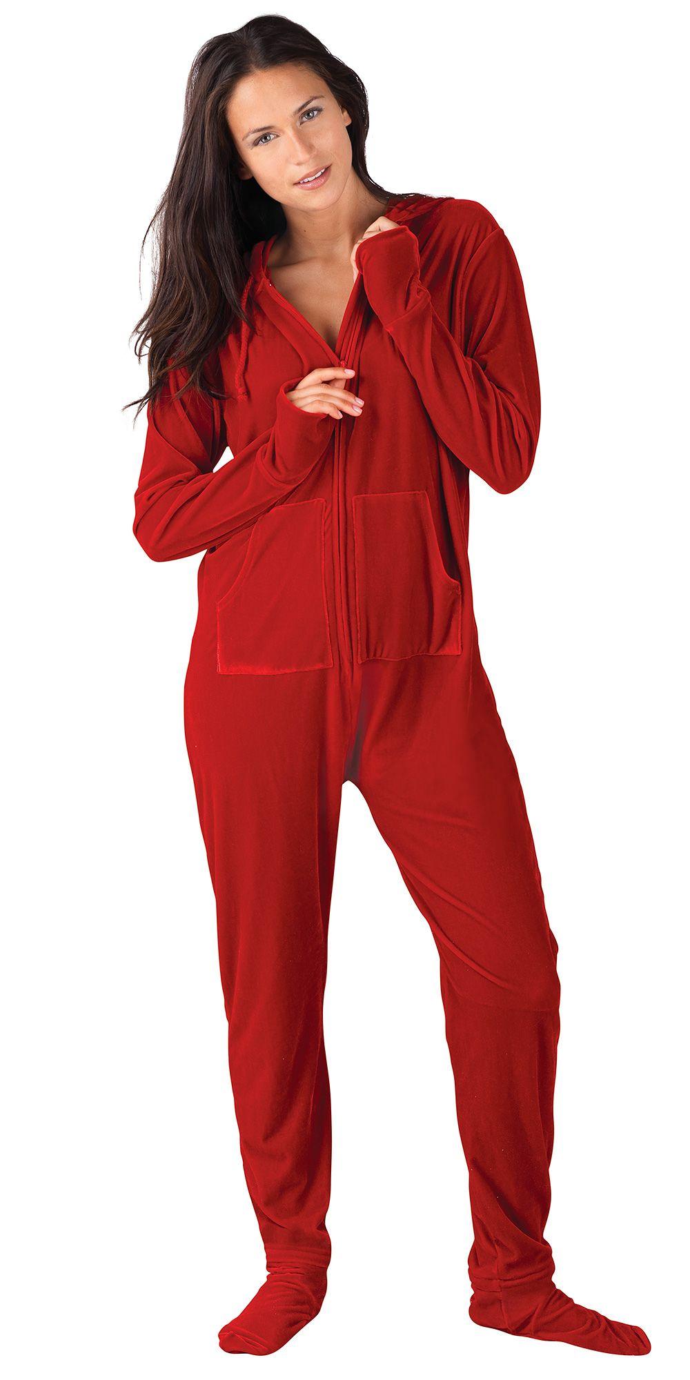 Ruby Velour Hoodie-Footie for Women - Onesie Pajamas from PajamaGram.   99.99  HoodieFootie  Velour  Pajamas e2887e86d