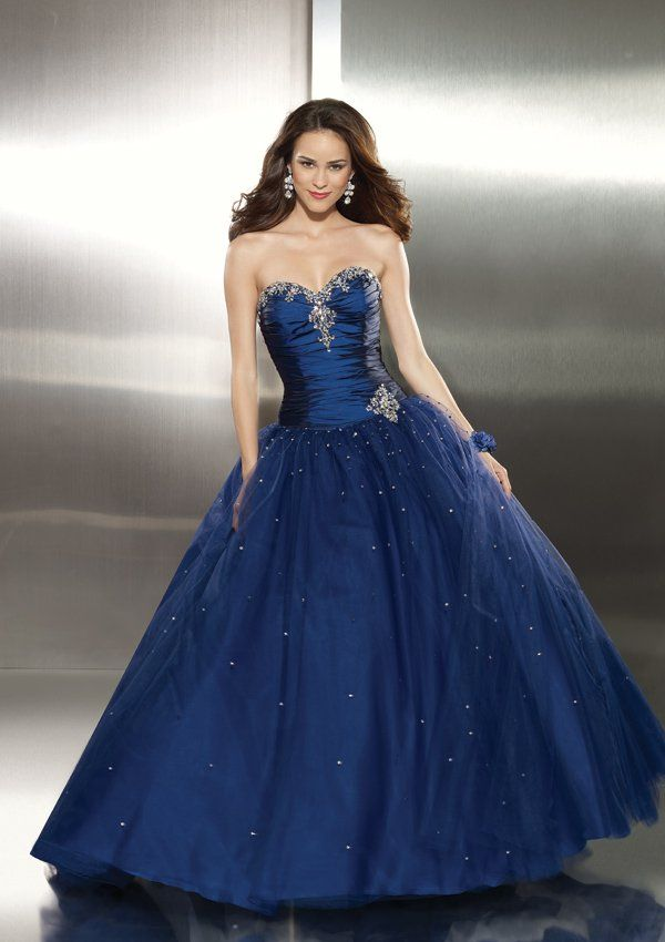 blue gowns and dresses | Cheap Beaded Ball Gown Long Dark Royal ...