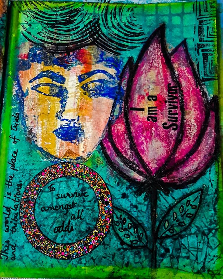 I am a survivor - my Art journal. This world is the place of trials and tribulations. The test of patience and endurance. We must survive .... so Yes I am a survivor. Hand painted acrylic and glass paint with hand carved stamps.