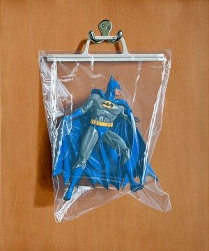 Batman by  Simon Monk. In each oil painting he depicts beloved superheroes known for their epic battles, hung and stored away in plastic bags.
