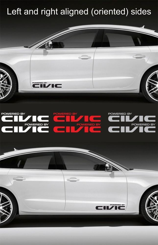 2pcs Powered By Civic 15 Wide Vinyl Decal Sticker Emblem Logo