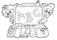 Resultado De Imagen De Pizarra Del Colegio Infantil Para Colorear Coloring Books School Images Coloring Pages
