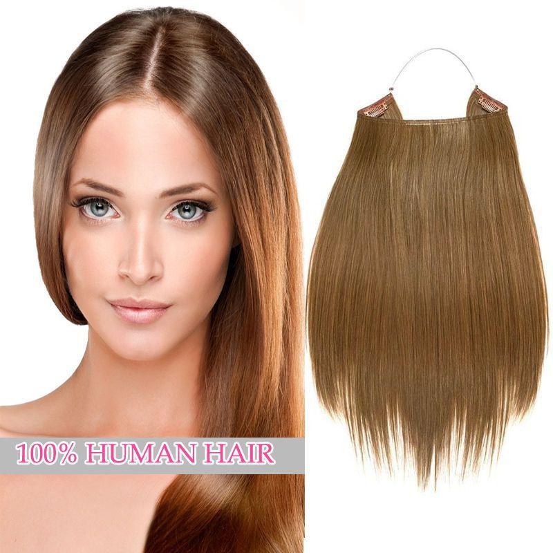Handmade 100 Human Hair Head Band Secret Wire Hair Extensions Half