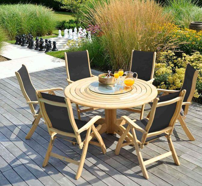 Alexander Rose - Table de jardin ronde à lattes circulaires ...