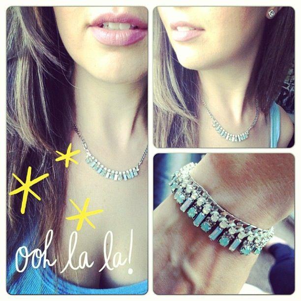 Petite fringe rhinestone and crystal necklace and bracelet. Http://www.chloeandisabel.com/boutique/byamygrey