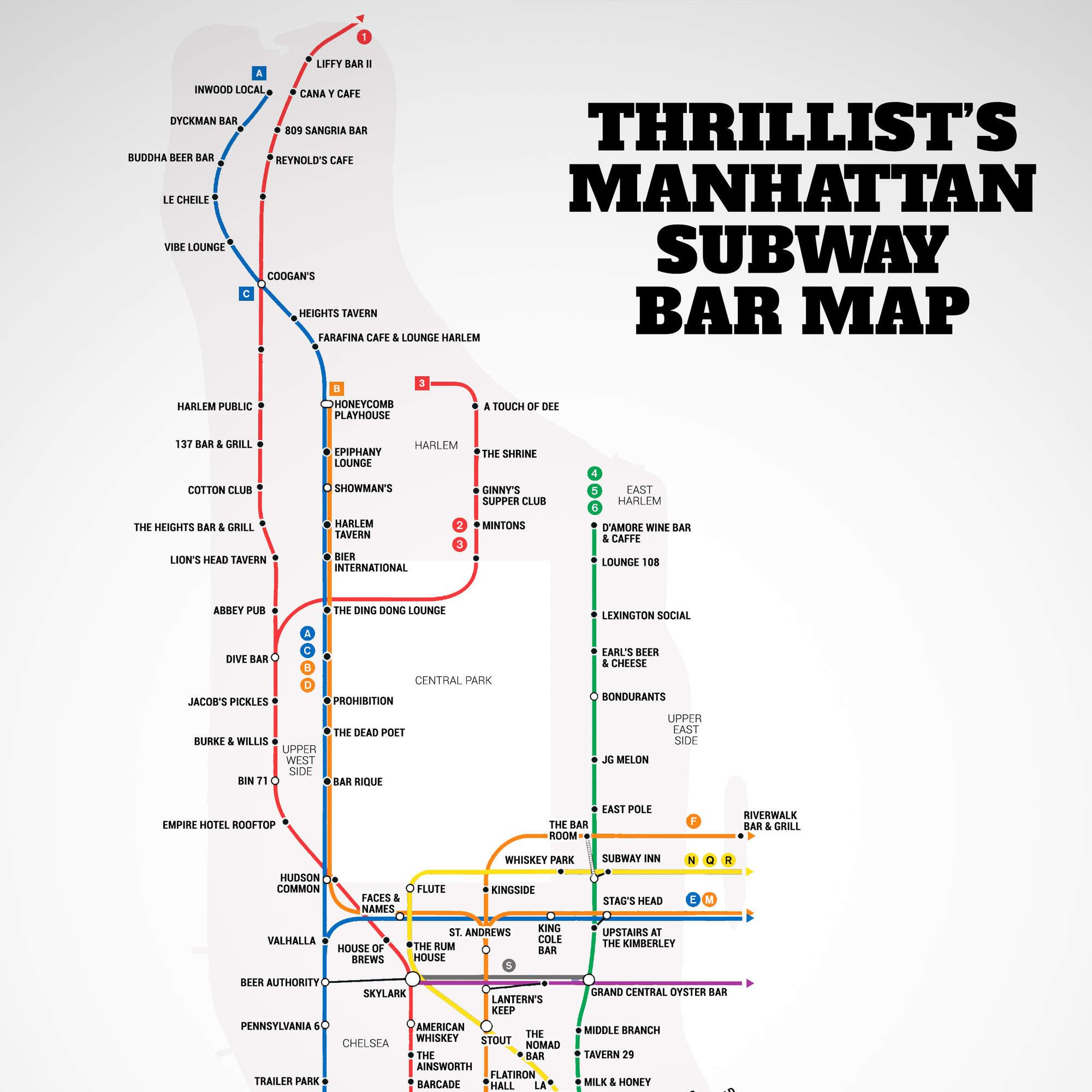 Upper West Side Subway Map.Manhattan S First Ever Subway Bar Map Travel Nyc Subway Map