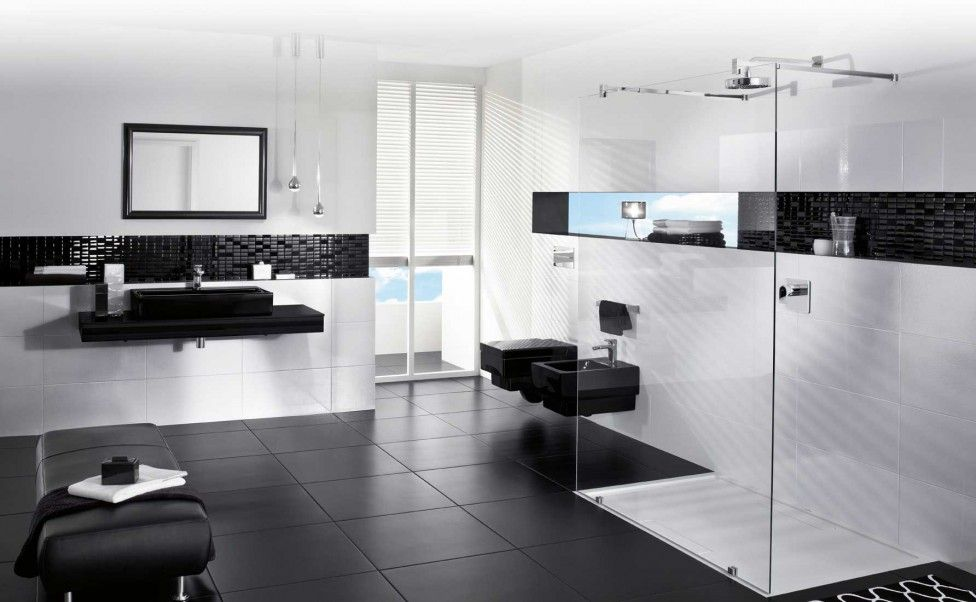 Merveilleux Modern Black White Bathroom Interior Design Eas Black