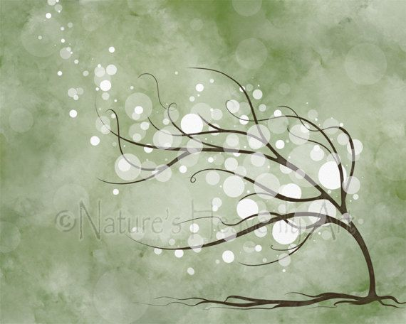16 X 20 Art Print Light Green Wall Decor Tree Living Room Sage 48