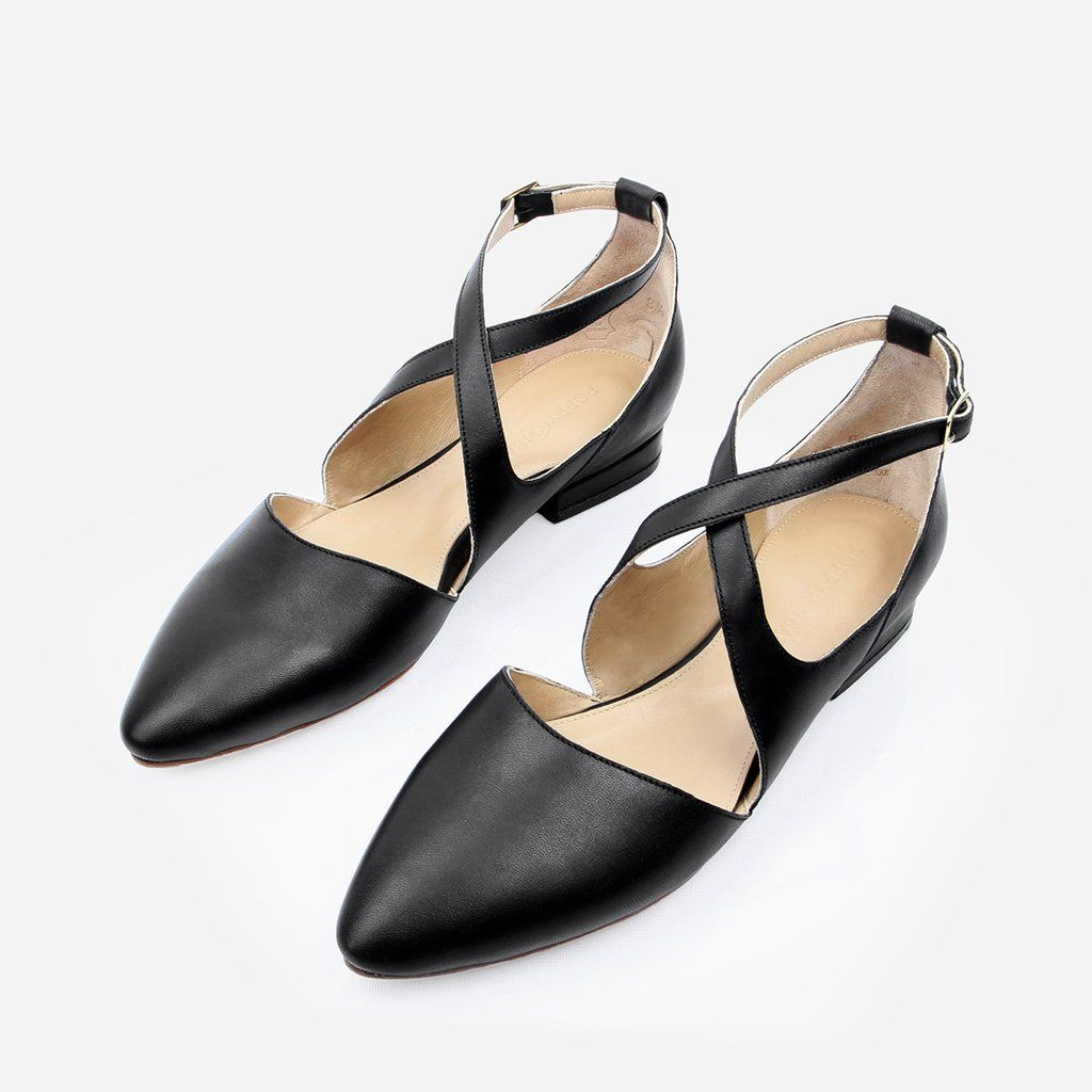 The Cross Strap Ballet Flat Black Ready To Wear | Fashion