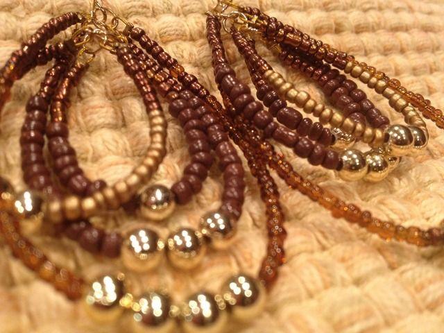 Beautiful Amber, Brown and Gold multi hoop earrings.