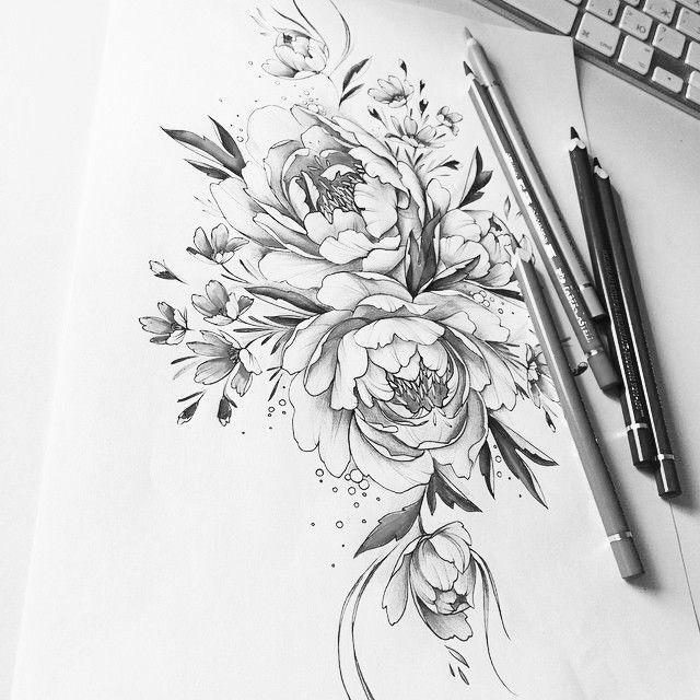 s t u n n i n g tattoo sketch, these flowers are gorgeous