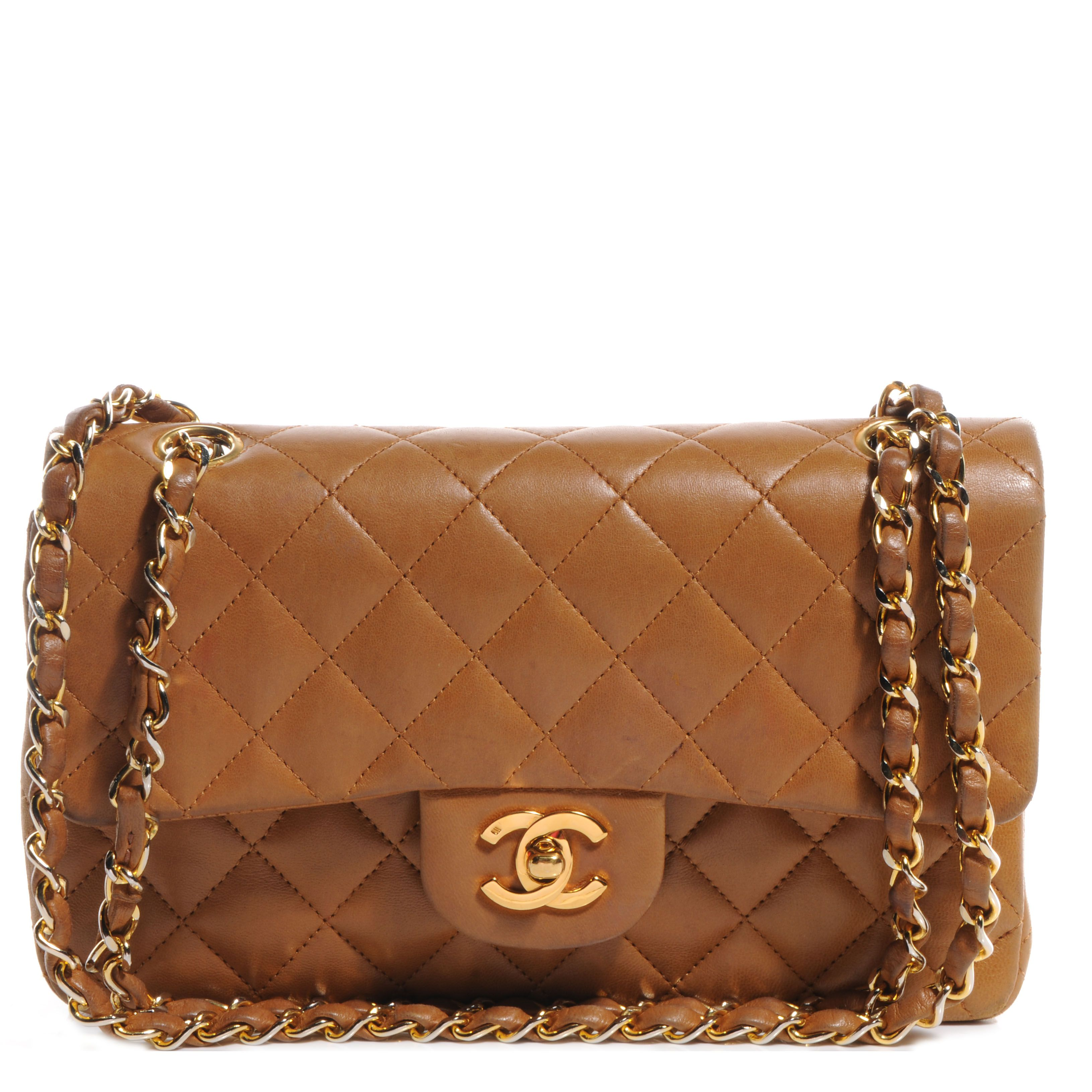 9518653dd2eb Fashionphile - CHANEL Vintage Lambskin Small Double Flap Light Brown