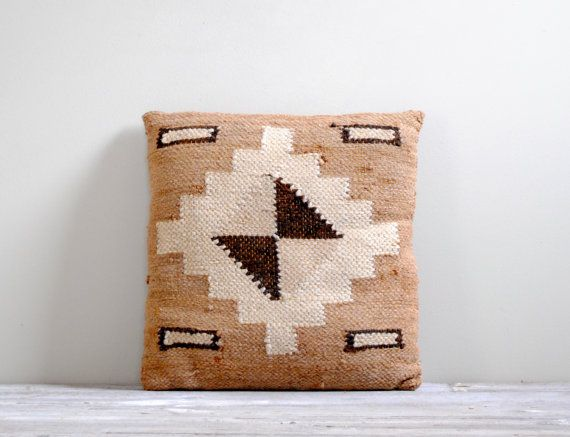 Vintage Hand Woven Throw Pillow, Native American Motif