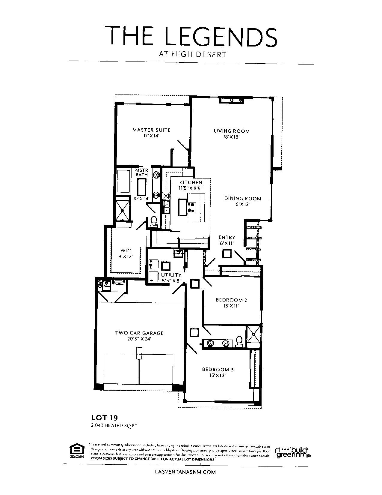 Floorplan with 2,043 square feet. Ventanas, Two car garage