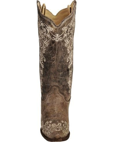 Corral Brown Crater with Bone Embroidery Cowgirl Boots - Snip Toe   Sheplers