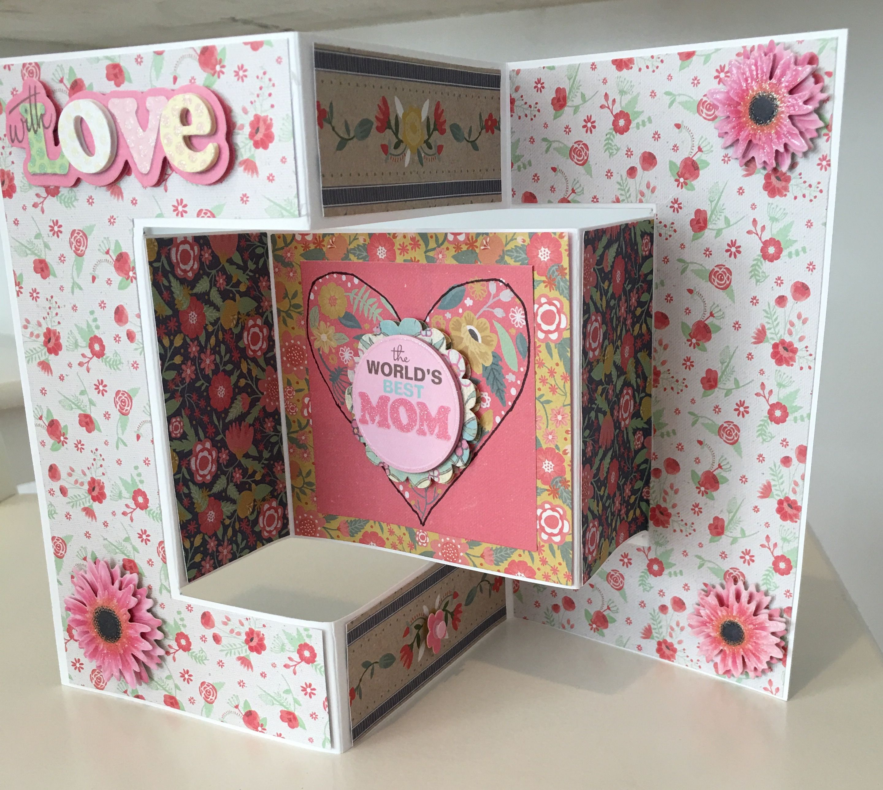 cby handmade  mother's day trifold greeting card