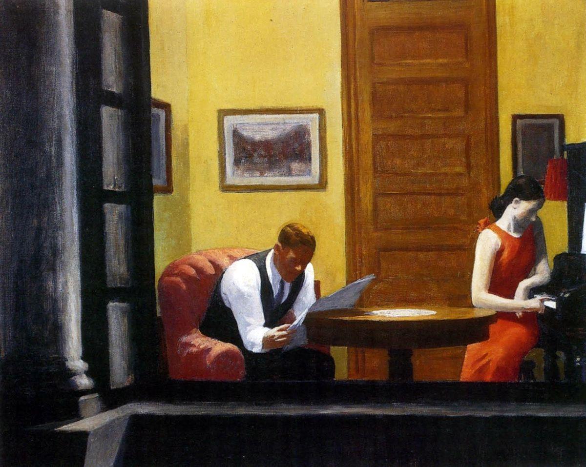 Edward Hopper. Stanza a New York, 1932. Olio su tela, cm. 72,5 x 90. Sheldon Memorial Art Gallery and Sculpture Garden, University of Nebraska-Lincoln, UNL- F.M. Hall Collection. Photograph Sheldon Memorial Art Gallery